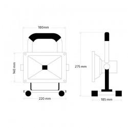 Projecteur LED Portatif avec Batterie 20W  6000K  IP65
